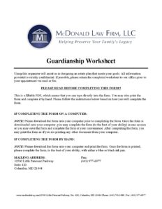 Guardianship Worksheet