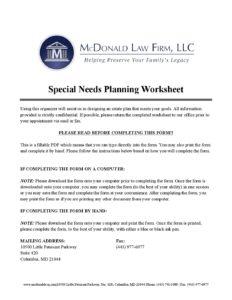 Special Needs Planning Worksheet